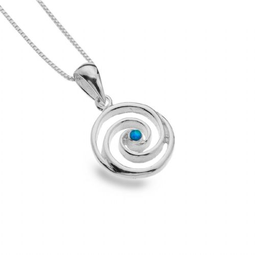 Blue Opal Swirl Pendant Sterling Silver 925 Hallmarked All Chain Lengths